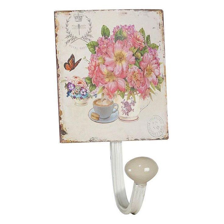 Μεταλλικη κρεμάστρα μίας θέσης ροζ τριαντάφυλλο. Δημιουργείστε μια ρομαντική πινελιά στο σπίτι σας.