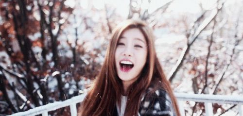 This is a gif of Sojin from the Kpop girl band Girl's Day.