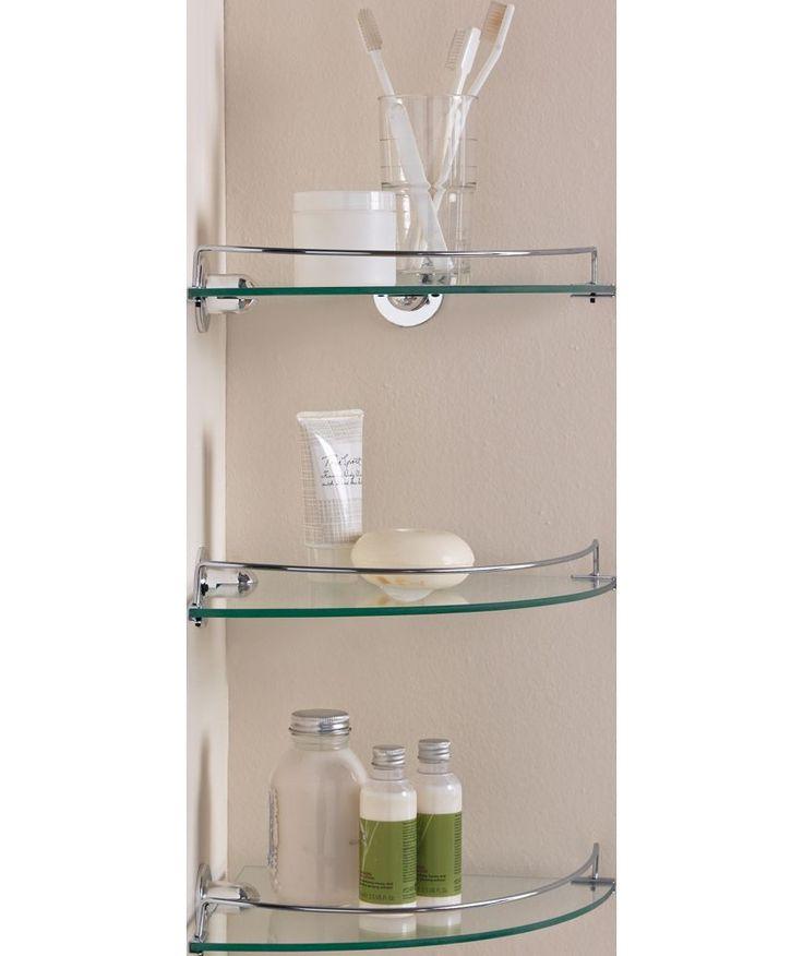 buy glass corner shelves pack of 3 at your. Black Bedroom Furniture Sets. Home Design Ideas