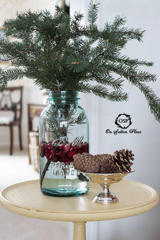 10 Christmas Vignette Ideas   Fresh green, Jars and ...
