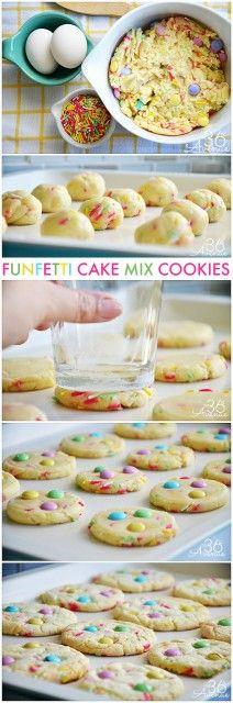 Cookie Recipes - Funfetti Cake Mix Cookies