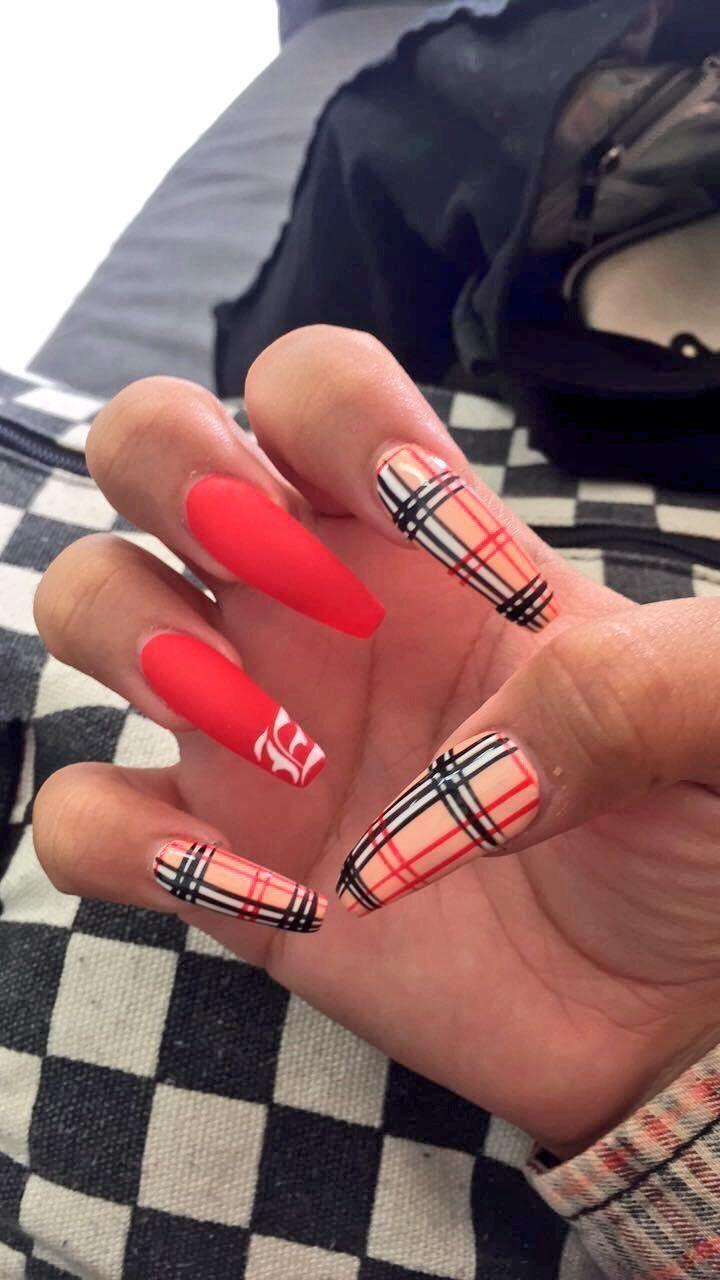 Themeanestwitch Plaid Nails Cute Acrylic Nails Gorgeous Nails