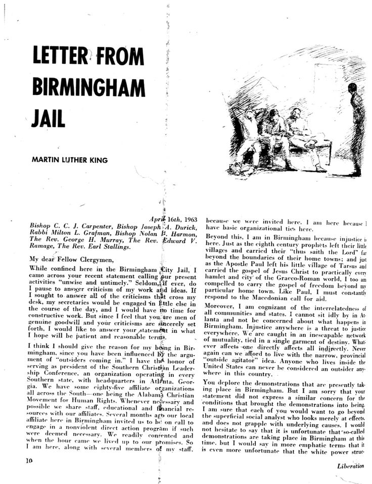 analysis of martin luther kings letter Complete summary of martin luther king jr's letter from birmingham city jail enotes plot summaries cover all the significant action of letter from birmingham.