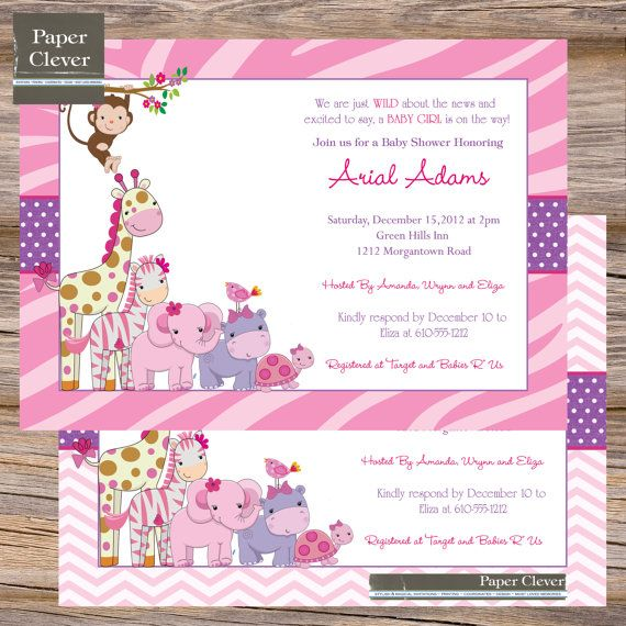 Girls baby shower invitation, jungle, monkey - digital file,printable on Etsy, $13.00