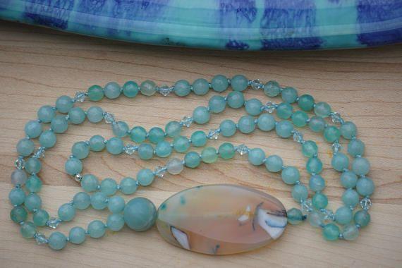Blue Agate Mala Necklace Aqua Quartzite Mala 108 Mala Beads