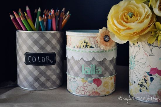 Piggy Bank or Pencil Holder: We made piggy banks, pencil holders, and vases out of leftover formula cans (we had a lot of formula cans!) The piggy banks were a huge hit for gifts. We wrapped them in colorful paper, trimmed them with ribbon, and cut a slit in the top for coins! — Kayla of Only Slightly Neurotic Get Kaylas piggy bank or pencil holder instructions