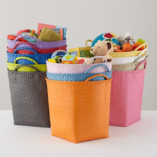 Kids Storage Containers Colorful Woven Floor Baskets In Toy Bo Bins