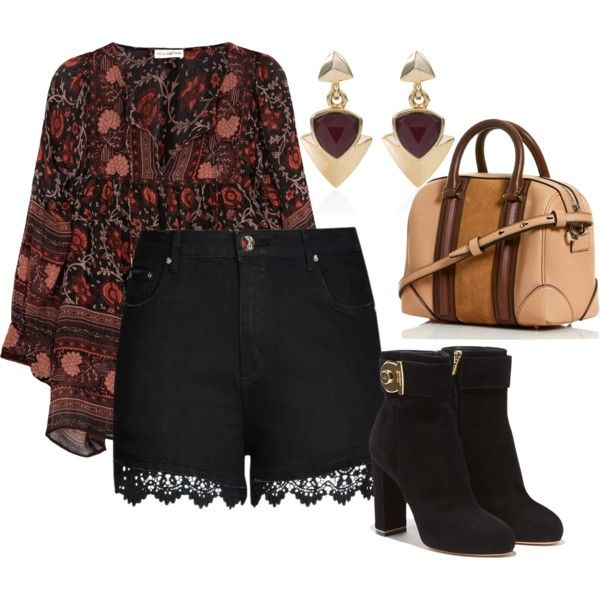 A fashion look from October 2015 featuring Ulla Johnson blouses, City Chic shorts und Salvatore Ferragamo ankle booties. Browse and shop related looks.