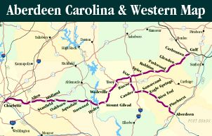 """The Aberdeen Carolina & Western Railway Co. operates in south-central North Carolina from Aberdeen westward to Charlotte and eastward to Gulf, serving businesses in Montgomery, Moore, Mecklenburg, Cabarrus, Chatham, and Stanly counties. The company was incorporated in 1987 to purchase the former Norfolk Southern branch from Aberdeen to Star. In 1989 the ACWR leased a line between Charlotte and Gulf as part of the NS """"Thoroughbred Shortline Program."""""""