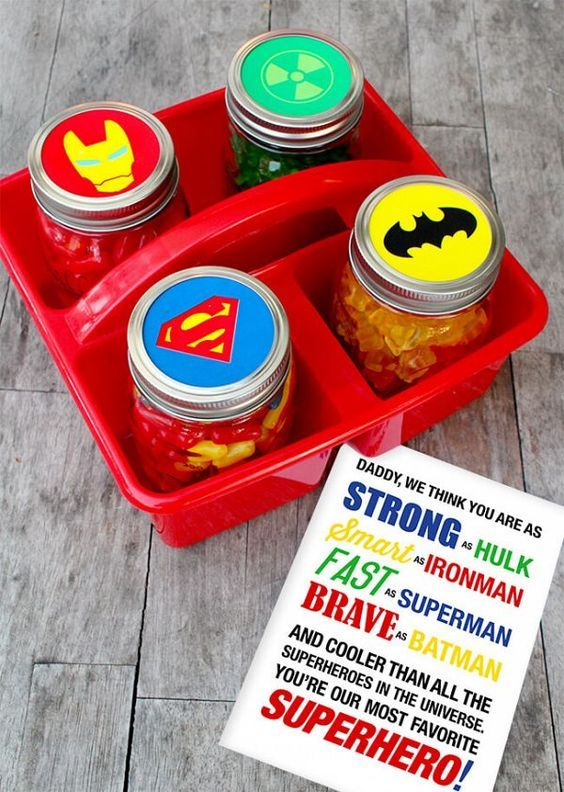 Superhero Jars Father's Day Gift by Popsicle and other fabulous FATHER'S DAY DIY GIFT IDEAS
