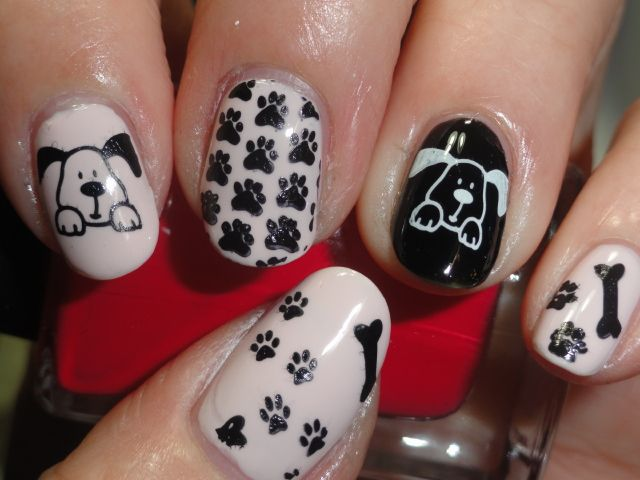 Puppy inspired black and white nails - 129 Best Pet-Inspired Nail Art Images On Pinterest Dog Nails