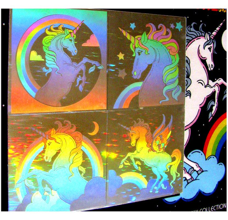 Rare Vintage Lazer Blazers Unicorn Hologram Stickers 80's Collectable New in Package.   via Etsy.