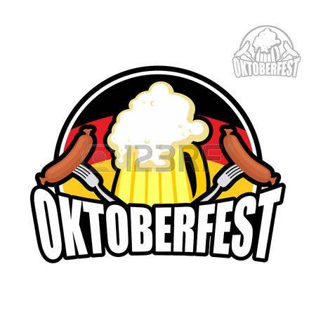 Festival de la cerveza Oktoberfest en Alemania. jarra de cerveza en el fondo de la bandera alemana. Y salchichas con un tenedor. ilustración vectorial para un día de fiesta