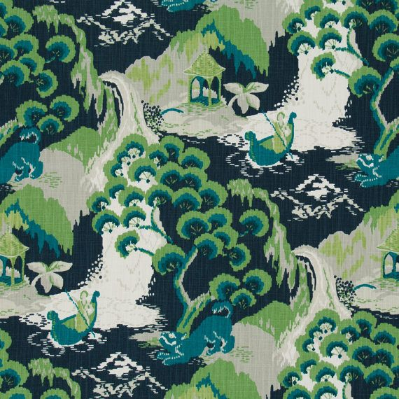 Turquoise Asian Upholstery Fabric  Blue Green Scenic Drapery