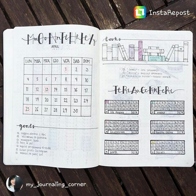 Bullet Journal monthly spread. @my_journaling_corner on Instagram