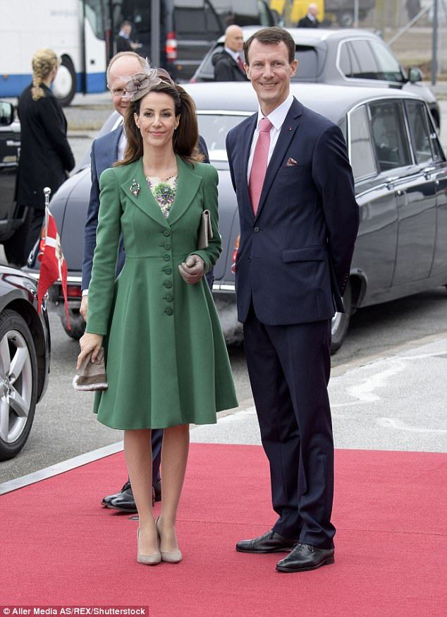 Princess Marie and Prince Joachim smiled for photographs as they arrived at the welcoming ...