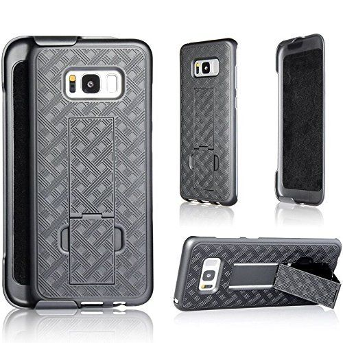 Galaxy S8 Case, NOuch Samsung Galaxy S8 case, with Belt Clip + Kickstand, Heavy Duty Holster case for 2017 s8 case Combo. Attention: This is for 2017 Samsung Galaxy S8 phone only. Make sure to use a screen protector to prevent screen crack for Samsung screens are pretty fragile. • √The BELT CLIP on the Holster attaches your S8 phone to your belt or handbag securely, just make sure to slide your phone firmly into the secured position. The Belt Clip can swivel 180 degrees. • √ The KICKSTAND...
