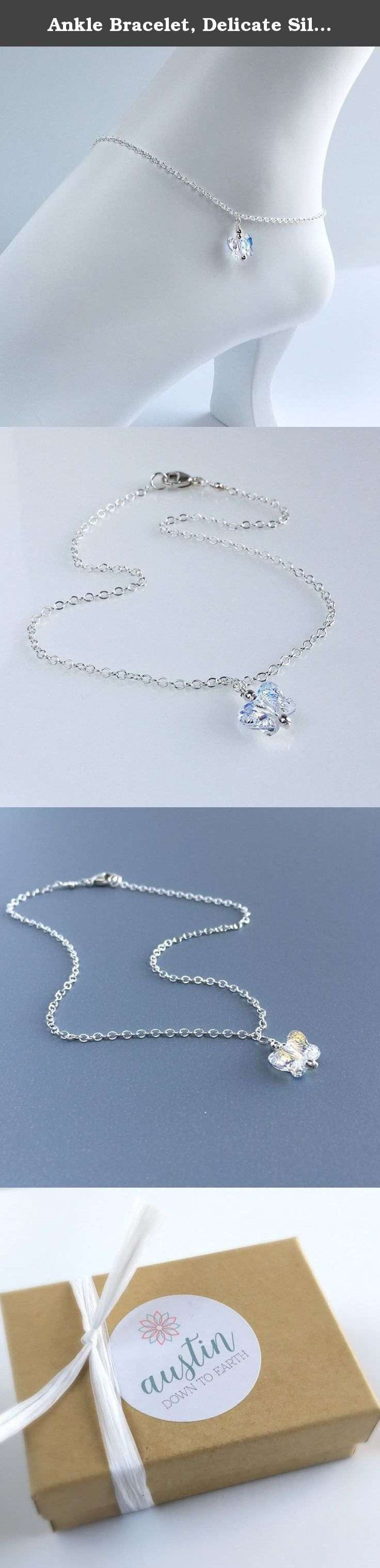 Ankle Bracelet, Delicate Silver Anklet, Swarovski Crystal Butterfly Ankle Bracelet, Butterfly Anklet, Dainty Crystal Wedding Ankle Bracelet. **Sterling Silver Ankle Bracelet with Crystal Butterfly.** This ankle bracelet is made with sterling silver chain and a small aurora borealis Swarovski crystal butterfly. This is a wonderful anklet for a special occasion or everyday wear. This is also available in 14k gold filled. This anklet comes in a box ready for gift giving.
