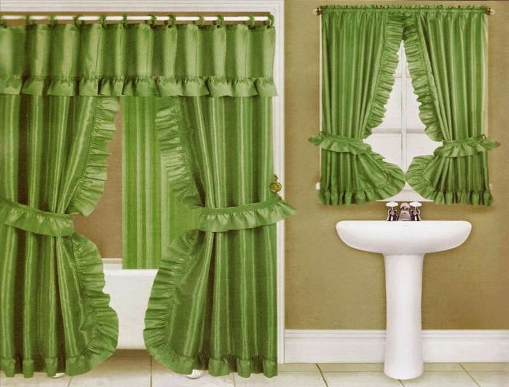 Curtain Ideas: Double Swag Shower Curtain With Matching Window Cu.