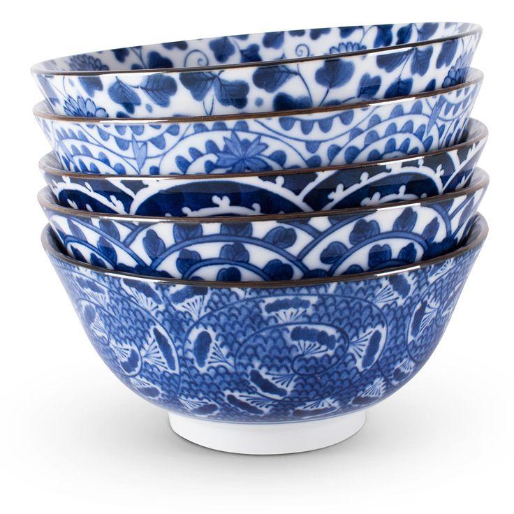 blue white bowl set gift asian porcelain decorator