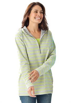 Zip terry hoodie, striped pullover   Plus Size Sweatshirts & Hoodies   Woman Within