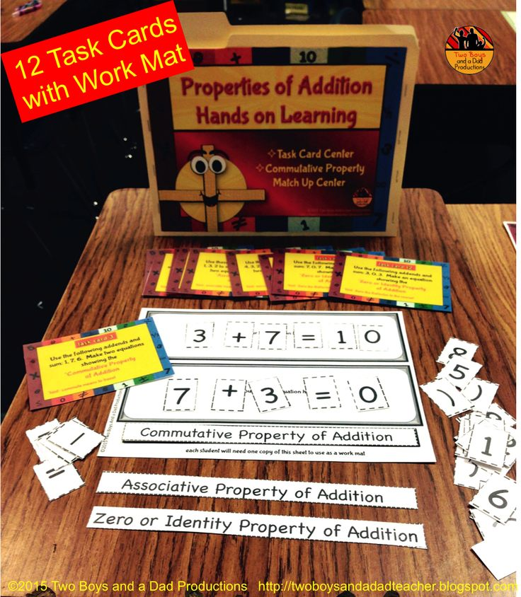 Here's 2 ready-made math centers focused on hands on practice with the Properties of Addition: ★Commutative Property of Addition ★Associative Property of Addition ★Zero or Identity Property of Addition Students will benefit from using a work mat to manipulate number cards and symbols to build equations using given addends and sums. (not shown) In the Commutative Property of Addition Match Up Center students match up 2 number sentences with addition groups to show the Commutative Property…