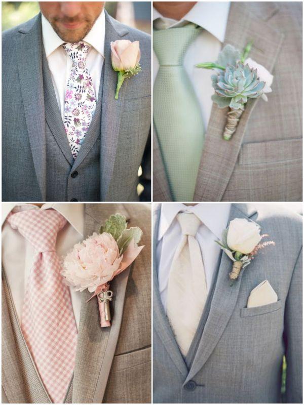 Tipos de Gravata para o Noivo arrasar no casamento! | http://marionstclaire.com/tipos-de-gravata-noivo-casamento  Gravata para Casamento Colorida com Ternos Claros | Colorful and printed ties for weddings with light suits