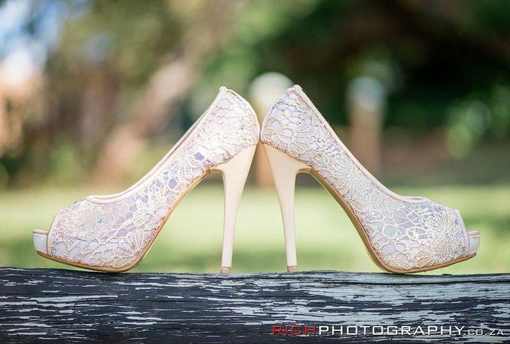 Gorgeous lace heels for a bride #Love #Heels #Lace #LadiesLove