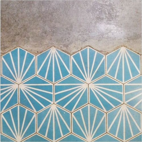 turquoise hex tile with pattern