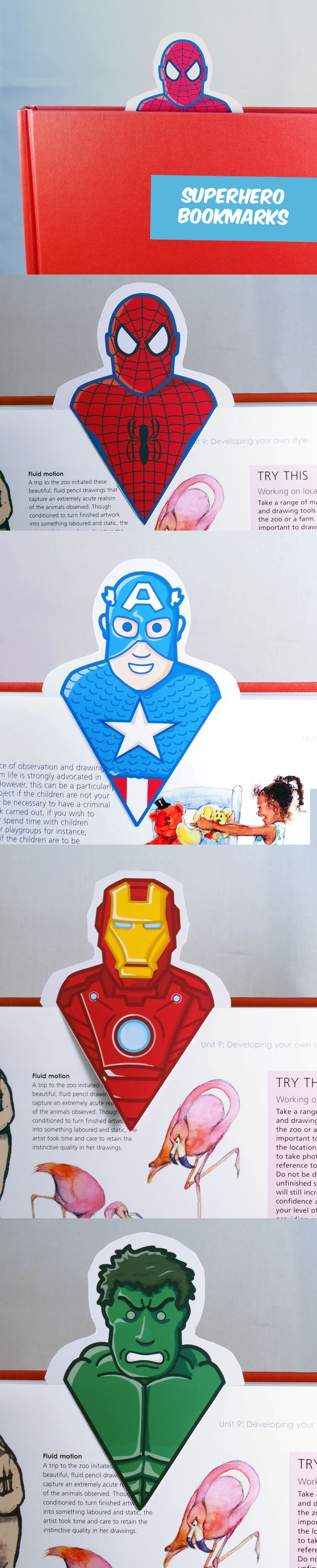 Create your own awesome Superhero bookmarks. Great DIY for kids!