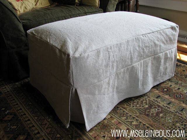 Simple Ottoman Slipcover with corner pleats using canvas dropcloth; no welting