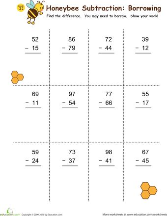 subtraction with borrowing honeybees 2nd grade math 2nd grade math worksheets subtraction. Black Bedroom Furniture Sets. Home Design Ideas