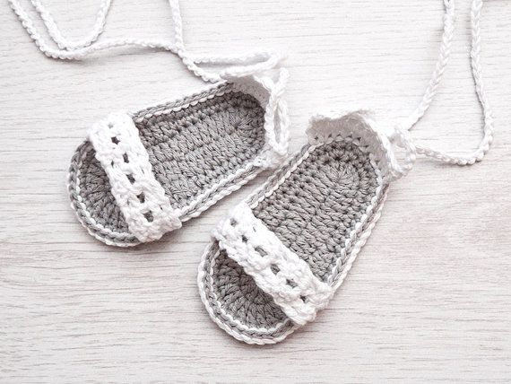 White Baby Crochet Sandals, Baby Shoes, Baby Sandals, Newborn Size, Made to order, Ready to ship on Etsy, $10.00
