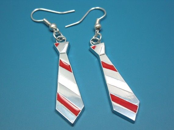 Nerdy Necktie Earrings  geek jewelry science nerd by Szeya on Etsy
