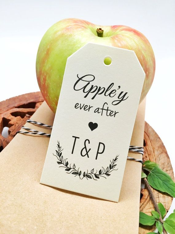 Carmel Apple Wedding Favor Gift Tag Cards - Personalized Drinking Thank You Tags - Favor Tags - Set of 50 tags