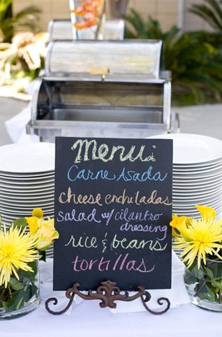 Beach wedding Mexican food buffet menu.