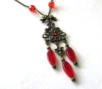 Rode kroonluchter ketting Sieraden Antieke koperen bronzen boog en bloem vintage stijl