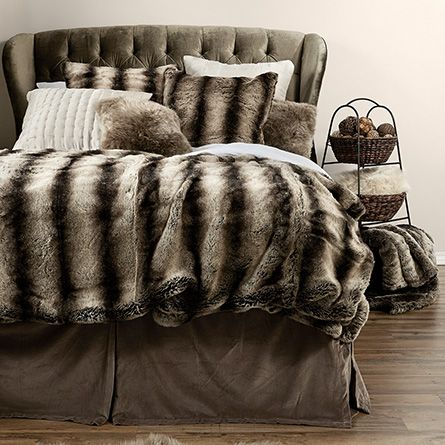 Faux Fur Chinchilla Bed Blanket | Arhaus Furniture