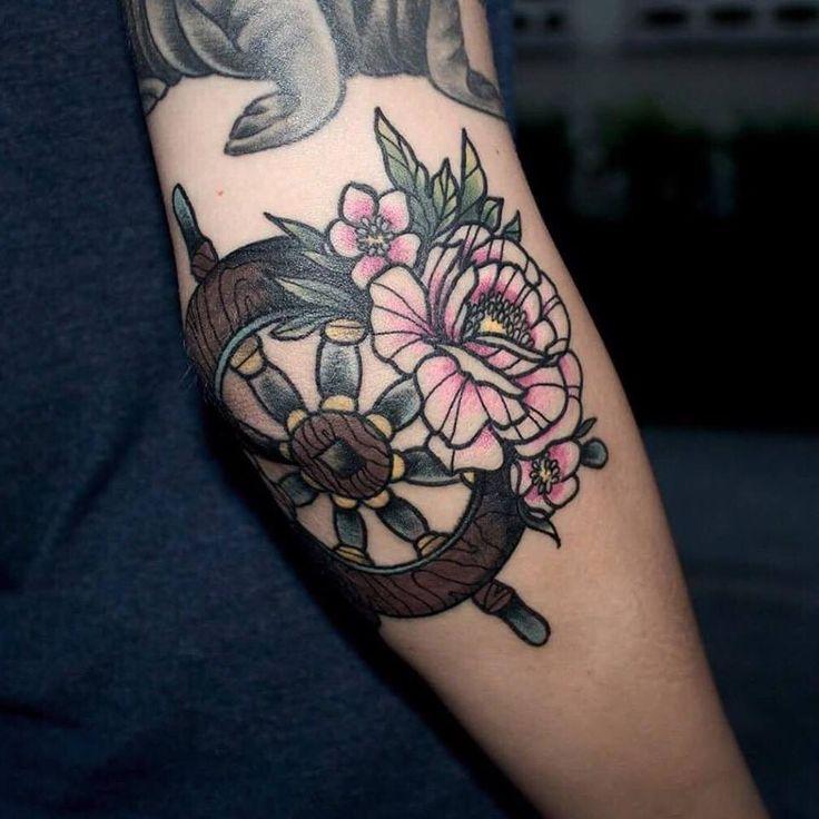 peony flower tattoo neo traditional neotraditional steering wheel ship sailor elisabethatattoo