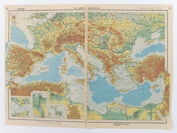 Map of the Mediterranean Large Vintage Map of Italy France