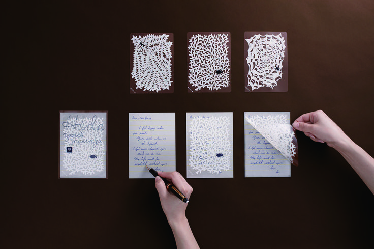 「Hide your messeage」Postcards with whimsical 'privacy overlays' to conceal your words. Inspired by labels used to protect personal information from prying eyes, the message surface is concealed by a lacy overlay.