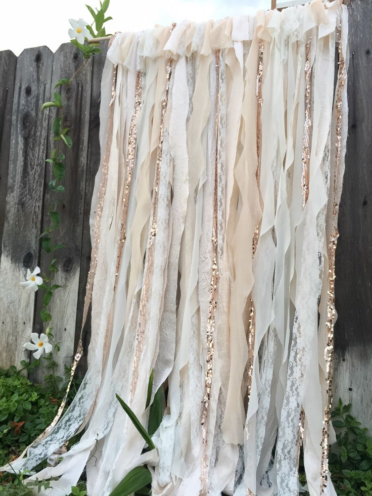 Cream and Gold Ribbon Backdrop, Photo Booth Backdrop, Gold Ribbon Backdrop, lace Wedding Backdrop, Gold Backdrop by WithLOVEeventdecor on Etsy https://www.etsy.com/listing/248314555/cream-and-gold-ribbon-backdrop-photo