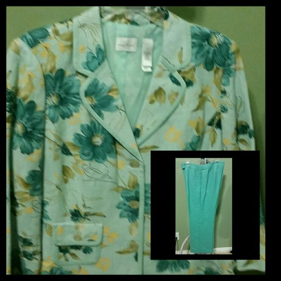 Floral Pant Suit 2 piece suit. Beautiful aqua color jacket with bold flowers and solid aqua pants. Wore once. It's been dry cleaned. In excellent condition. Emma James Dresses