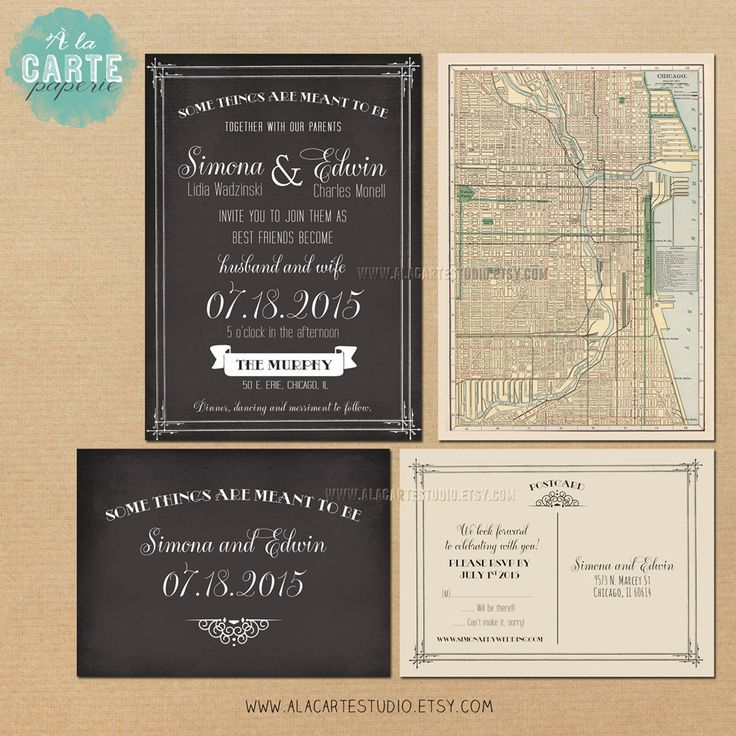 tie the knot wedding invitations etsy%0A Antique Map Chalkboard Inspired Wedding Invitation and RSVP Card  The  Murphy  Elegant Vintage Wedding
