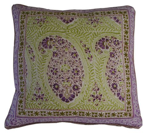 Printed natural cotton cushion featuring a large paisley pattern in fresh lime and radiant orchid purple.  The reverse has a complimenting repeated floral design in the same colours.  Hand block printed in India using ethical and environmentally friendly construction that preserves and celebrates traditional artisan skills.  100% natural cotton cover with NZ made Polyfill inner.  Dimensions: 45cm x 45cm