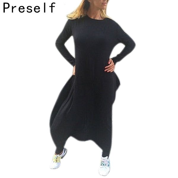 Bahaya preself celeb longgar jumpsuit pakaian bermain romper wanita kasual kebesaran hitam