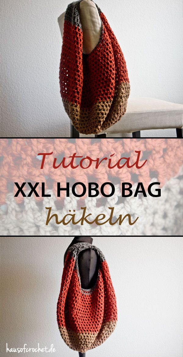 Tutorial: Gestreifte XXL Hobo Bag häkeln