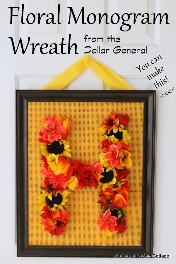 Floral Monogram Fall Wreath Dollargeneral