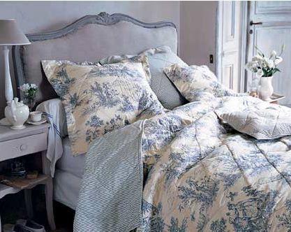 Blue & white French-inspired bedroom.