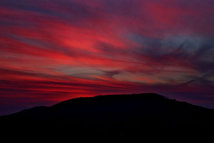 Annagh Hill as dusk sets in, with a beautiful pink sky by Sharon Greene
